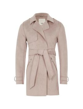 Girls Lilac Faux Suede Trench Coat by River Island