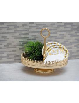 13 In. X 12 In. Spiked Gold Finished Aluminum Tray Stand by Litton Lane