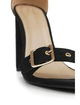 Black Heeled Sandals With Eyelet Detail by I Saw It First