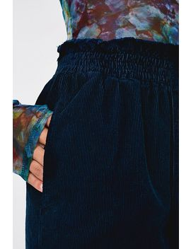 Uo Navy Corduroy Paperbag Waist Trousers by Urban Outfitters