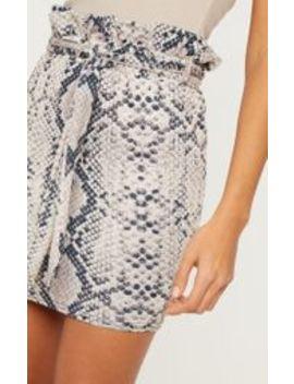 Snakeskin Paperbag Waist Printed Mini Skirt by Prettylittlething