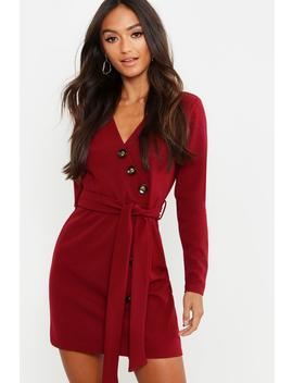 Petite Horn Button Belted Wrap Dress by Boohoo