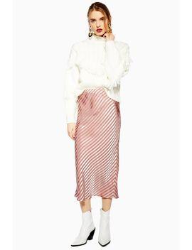 Stripe Satin Bias Midi Skirt by Topshop