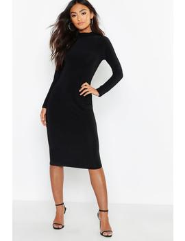 Petite Slinky High Neck Midi Dress by Boohoo