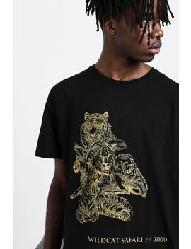 Oversized Big Cat Tonal Print T Shirt by Boohoo