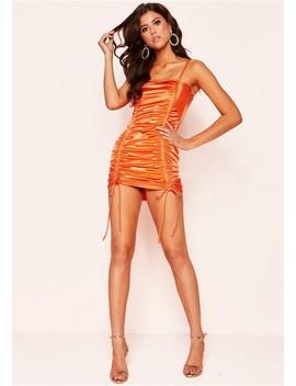 Callie Orange Ruched Tie Mini Dress by Missy Empire