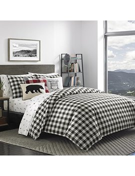 Eddie Bauer Mountain Plaid Duvet Cover Set, Twin, Black by Eddie Bauer