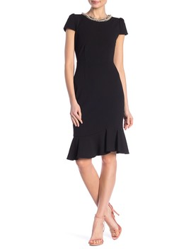Scuba Crepe Flounce Dress by Betsey Johnson