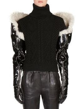 Long Shearling & Leather Gloves by Saint Laurent