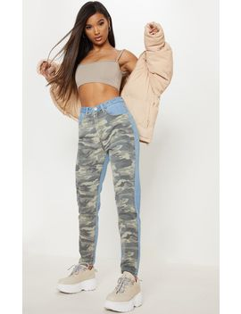 Camo Two Tone Straight Leg Jeans  by Prettylittlething