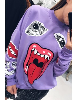 Josephine Lilac Printed Face Sweatshirt by Misspap