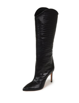 Maryana Snake Print Leather Knee Boots by Schutz
