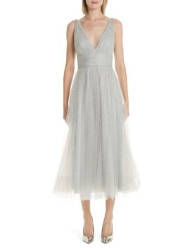 Glitter Tulle Tea Length Dress by Marchesa Notte