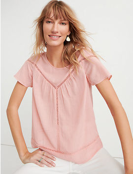 Inset Lace Yoke Top by Lucky Brand