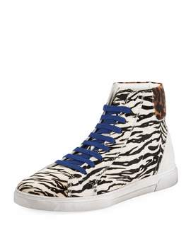 Men's Joe Chess Animal Print Leather High Top Sneakers by Saint Laurent