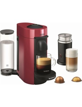 Vertuo Plus Coffee Maker And Espresso Machine With Aeroccino Milk Frother By De Longhi   Cherry Red by Nespresso