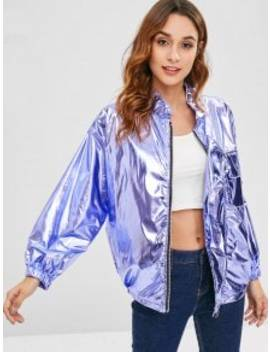 Oversized Metallic Jacket   Lavender Blue by Zaful