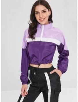 Drawcord Waist Zipped Pullover Jacket   Purple Iris S by Zaful