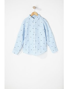 Boys Printed Button Up Long Sleeve Shirt by Urban Planet