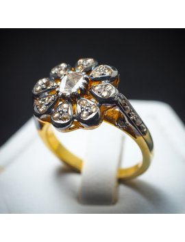 Vintage Rose Cut Genuine Diamond Flower Shape 22 K Gold Sterling Silver Ring , Diamond Ring , Victorian Ring , Cocktail Ring by Etsy