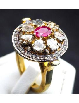 Vintage Sparkling Rose Cut Large Diamond Natural Pink Ruby Gold Silver Ring by Etsy