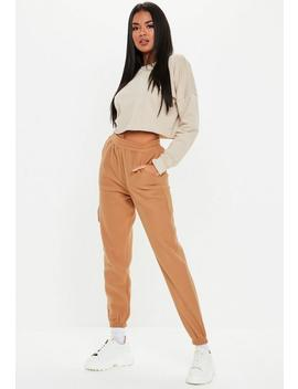 Tan Fleece Slim Joggers by Missguided