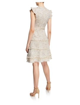 Loraine V Neck Short Sleeve Tweed Dress by Elie Tahari