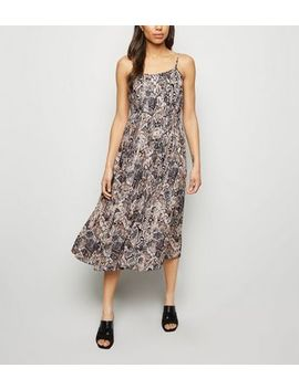Brown Snake Print Pleated Midi Dress by New Look