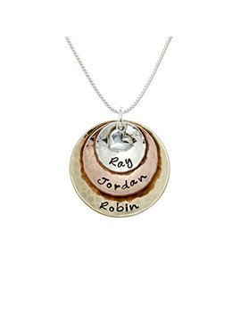 My Three Treasures Personalized Charm Necklace With 925 Silver, Gold And Rose Gold Plated Discs. Customized With Any Words Or Names Of Your Choice. Gifts For Her, Mother, Grandmother, Wife by Aj's Collection