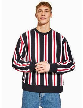 Navy, Red And White Vertical Stripe Sweatshirt by Topman