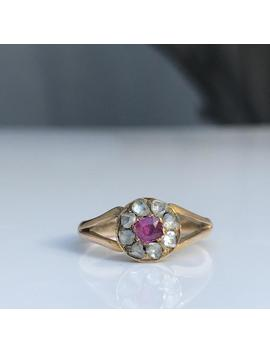 Antique ~ Ruby And Rose Cut Diamond Ring ~ 18ct Gold ~ Size Uk K Or Us 5 by Etsy