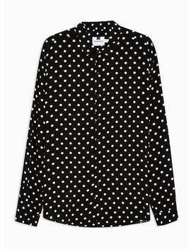Black And White Polka Dot Slim Shirt by Topman