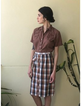 1950's Blouse / Dusty Brown Button Front Cotton Shirt / Casual Late Fifties Early Sixties Summer Shirt / Size Medium Blouse / Short Sleeves by Etsy