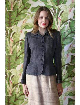 1940's Blazer / Glengyle Sportswear Wool Jacket / Bombshell Viva Las Vegas / Short Sleeves Shirt Sexy Housewife / Serious Neckline Drama by Etsy