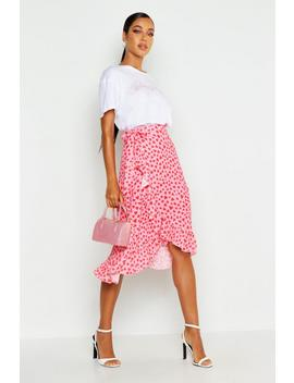 Woven Heart Print Ruffle Midi Skirt by Boohoo