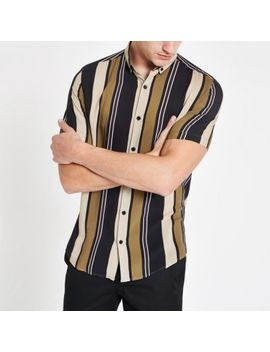 Stone Stripe Button Down Collar Shirt by River Island