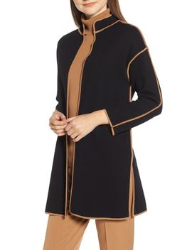 Piped Detail Nehru Sweater Coat by Anne Klein