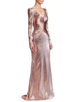 Ruched Metallic Lamé Gown by Theia
