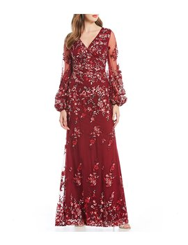 Floral Embroidered Balloon Sleeve Gown by David Meister