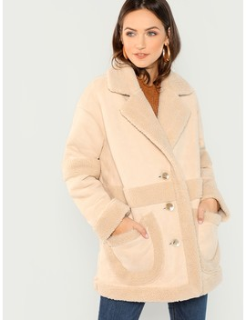 Pocket Front Faux Shearling Teddy Coat by Shein