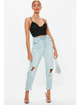 Blue Light Wash Denim Riot Mom Rigid Jeans by Missguided