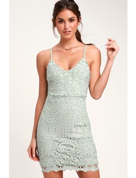 Perfect Love Sage Green Lace Mini Dress by Lulus