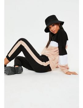 Black Colourblock Co Ord Joggers by Missguided