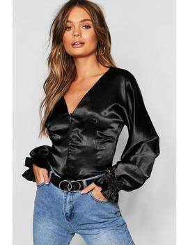 Satin Button Fitted Blouse by Boohoo