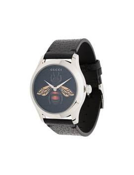 G Timeless Bee Leather Watch by Gucci