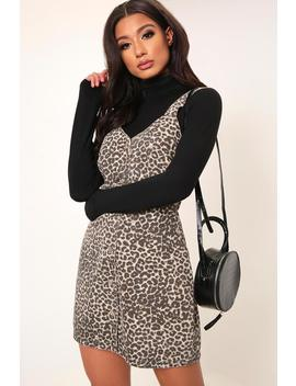 Brown Leopard Print Button Front Denim Dress by I Saw It First