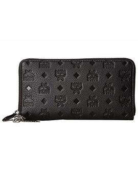 Klara Monogrammed Leather Charm Zipped Wallet Large by Mcm