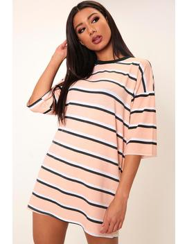 Nude Striped Oversized T Shirt Dress by I Saw It First