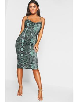 Leopard Strappy Cowl Neck Midi Dress by Boohoo