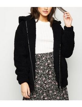 Black Teddy Borg Hooded Bomber Jacket by New Look